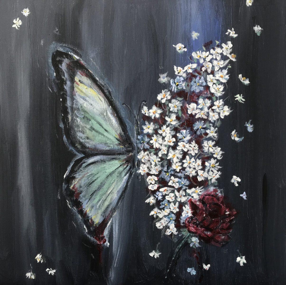 Saskia Stapel painting butterfly vlinder flowers bloemen phase